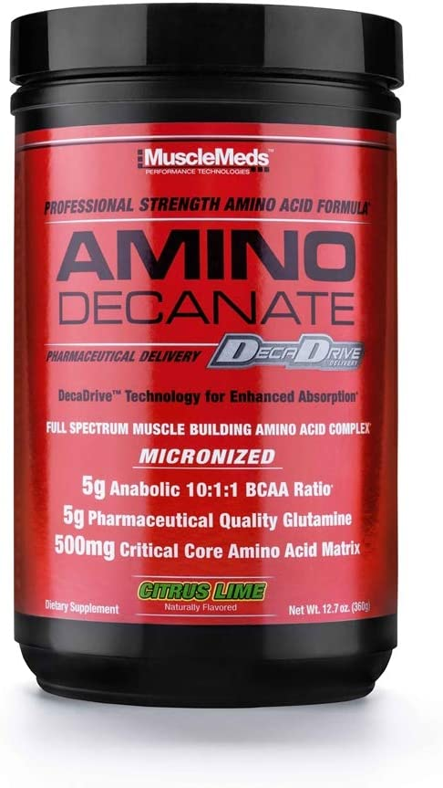 MuscleMeds - Amino Decanate, Full Spectrum Muscle Building Amino Acid Complex Watermelon, 13.3 oz