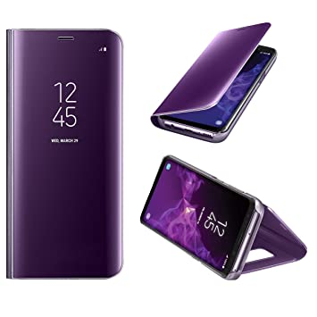 size 40 38fad cbcaf KP TECHNOLOGY Galaxy S9 Case - New Mirror Smart View Clear Flip Case Cover  Samsung Galaxy S9 2018 (PURPLE)