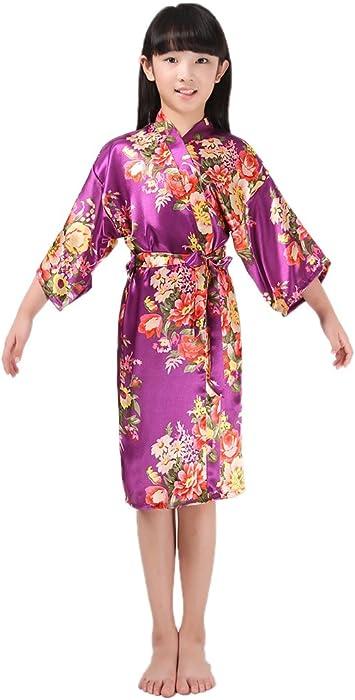 BOYANN Niños Niñas Flor Kimonos Pijamas Batas Vestido de Novia