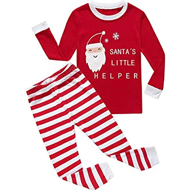 a3c82ec1e8 Sikye Kids Baby Girl Boy Christmas Birthday Outfit Set Letter Top Shirt and  Striped Pant Pajamas