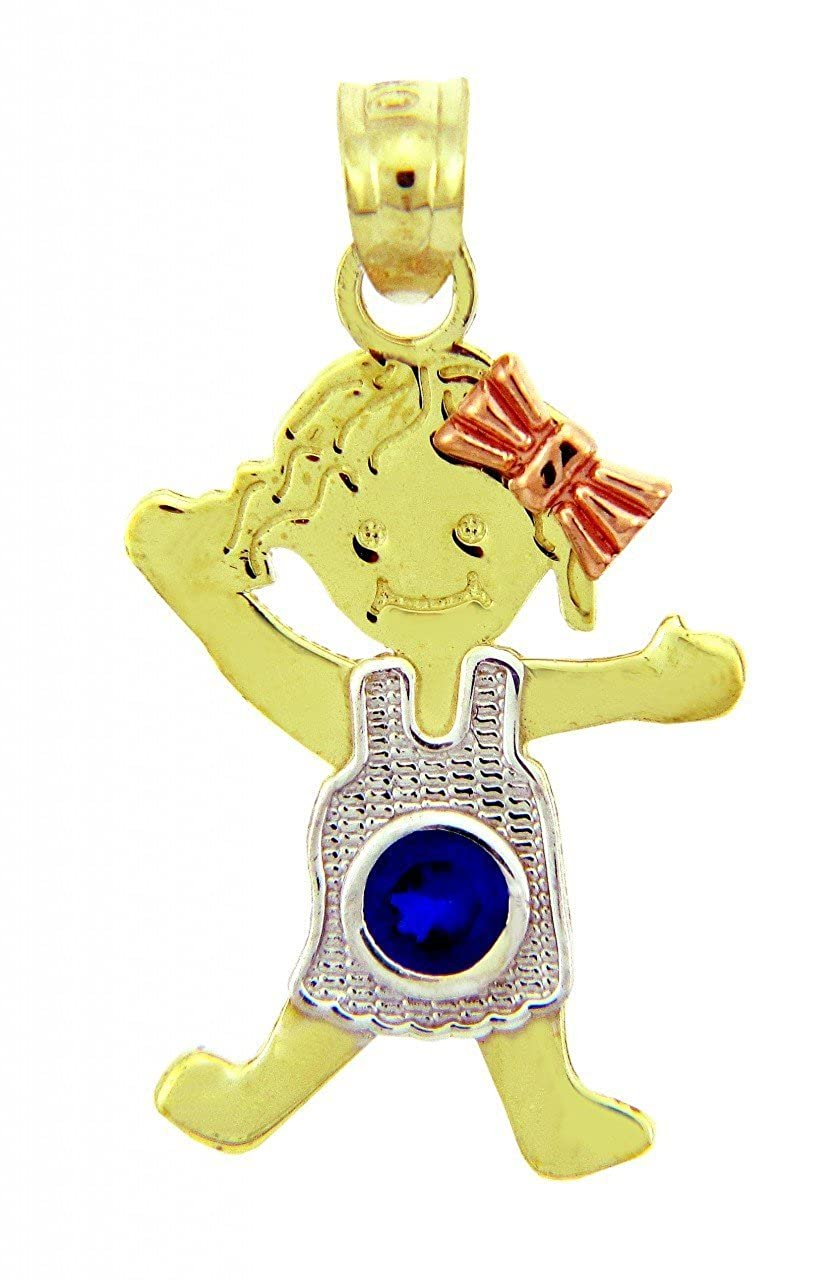 10k Tri Color Gold Girl With Bow September Birthstone Charm Pendant
