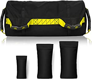Taeku Fitness Sandbag Adjustable Weighted Power Training Heavy Duty Sand Bag Multiple Handles Gym Bags with 3 Filler Bags for Raw Power Balance Control Exercise