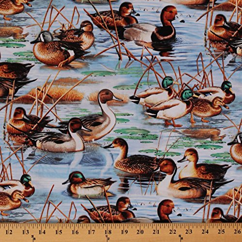 Cotton Duck, Duck Goose! Mallard Pond Lake Summer Birds Nature Cotton Fabric Print by the Yard (9118)