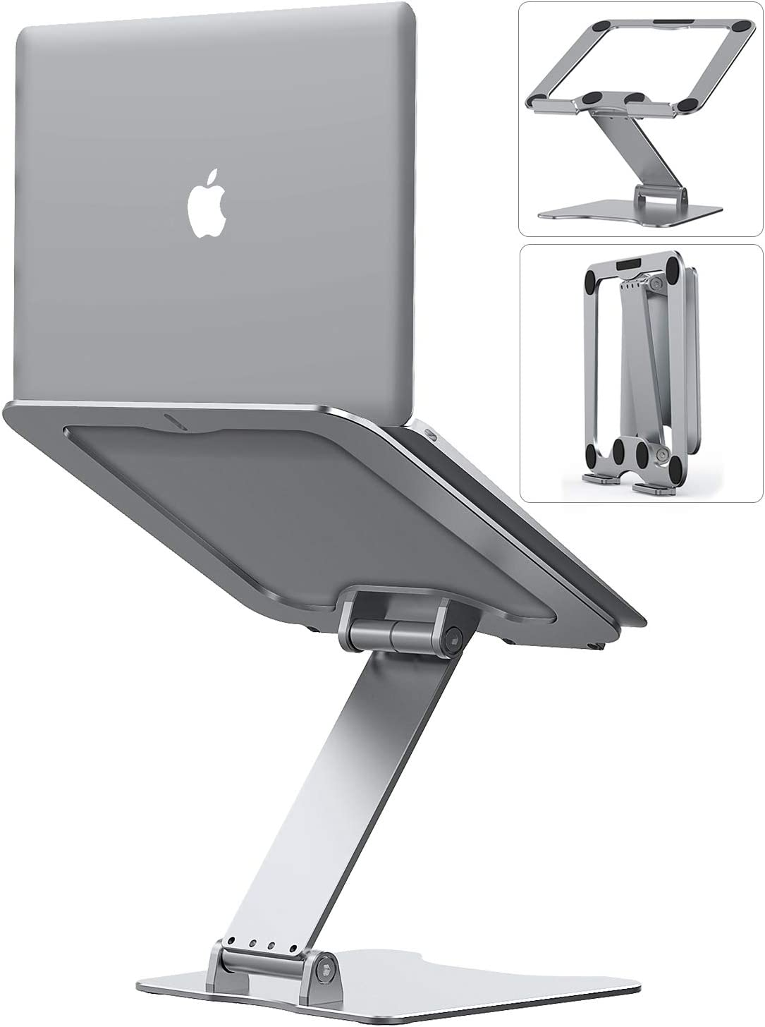 "Laptop Stand, Letlar Laptop Holder, Aluminum Laptop Riser Stand for Desk, Adjustable Height 1.9""-13.8"", Compatible with MacBook, Dell, HP, Lenovo, All Laptops 8-17 Inches, Supports up to 44Lbs-Silver"