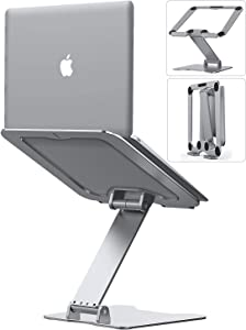 """Laptop Stand, Letlar Laptop Holder, Aluminum Laptop Riser Stand for Desk, Adjustable Height 1.9""""-13.8"""", Compatible with MacBook, Dell, HP, Lenovo, All Laptops 8-17 Inches, Supports up to 44Lbs-Silver"""