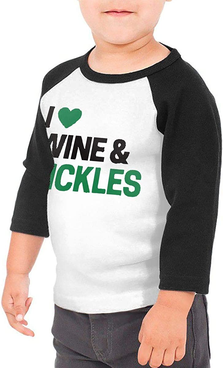 I Love Wine /& Pickles Unisex 100/% Cotton Childrens 3//4 Sleeves T-Shirt Top Tees 2T~5//6T