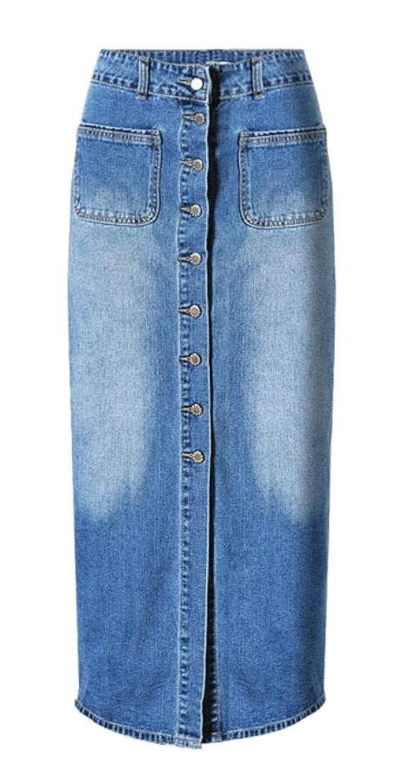 JuJuTa Womens High Waisted Mid-Long Single Breasted Denim Split Bodycon Skirts