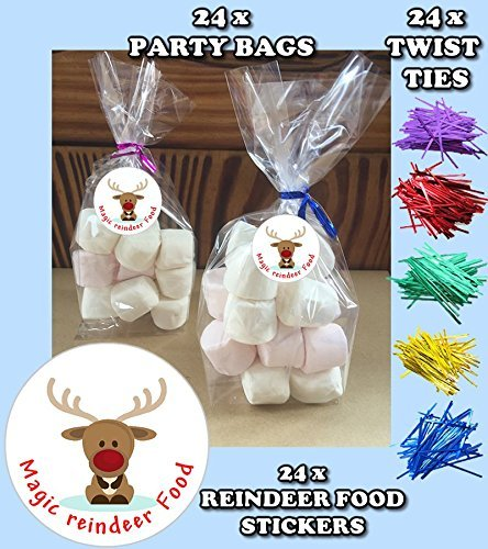 24 Christmas Reindeer Food Do It Yourself Cellophane Favour Birthday Party Gift Bags by 44th Street by 44th Street
