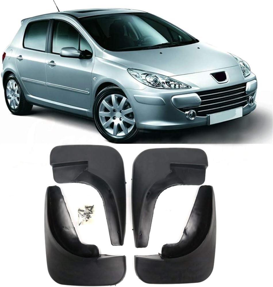 WEISHAN Mud Flaps 4pcs Coches Auto Guardabarros Guardabarros Juego Sucio Fender Mudflaps Delantera y Trasera for Peugeot 307 2000 2001 2002 2003 2004 2005 2006 2007