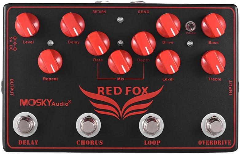 Muslady MOSKY RED FOX 4-en-1 Efectos de guitarra eléctrica Pedal Delay + Chorus + Loop + Overdrive