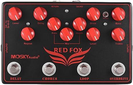 Muslady MOSKY RED FOX 4-en-1 Efectos de guitarra eléctrica Pedal ...