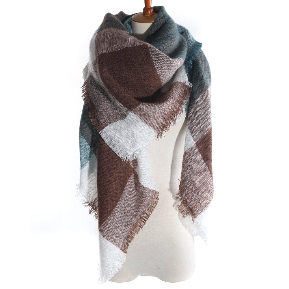 Women's Winter Soft Plaid Tartan Checked Scarf Large Blanket Wrap Shawl  Green-coffee 140 by 140cm