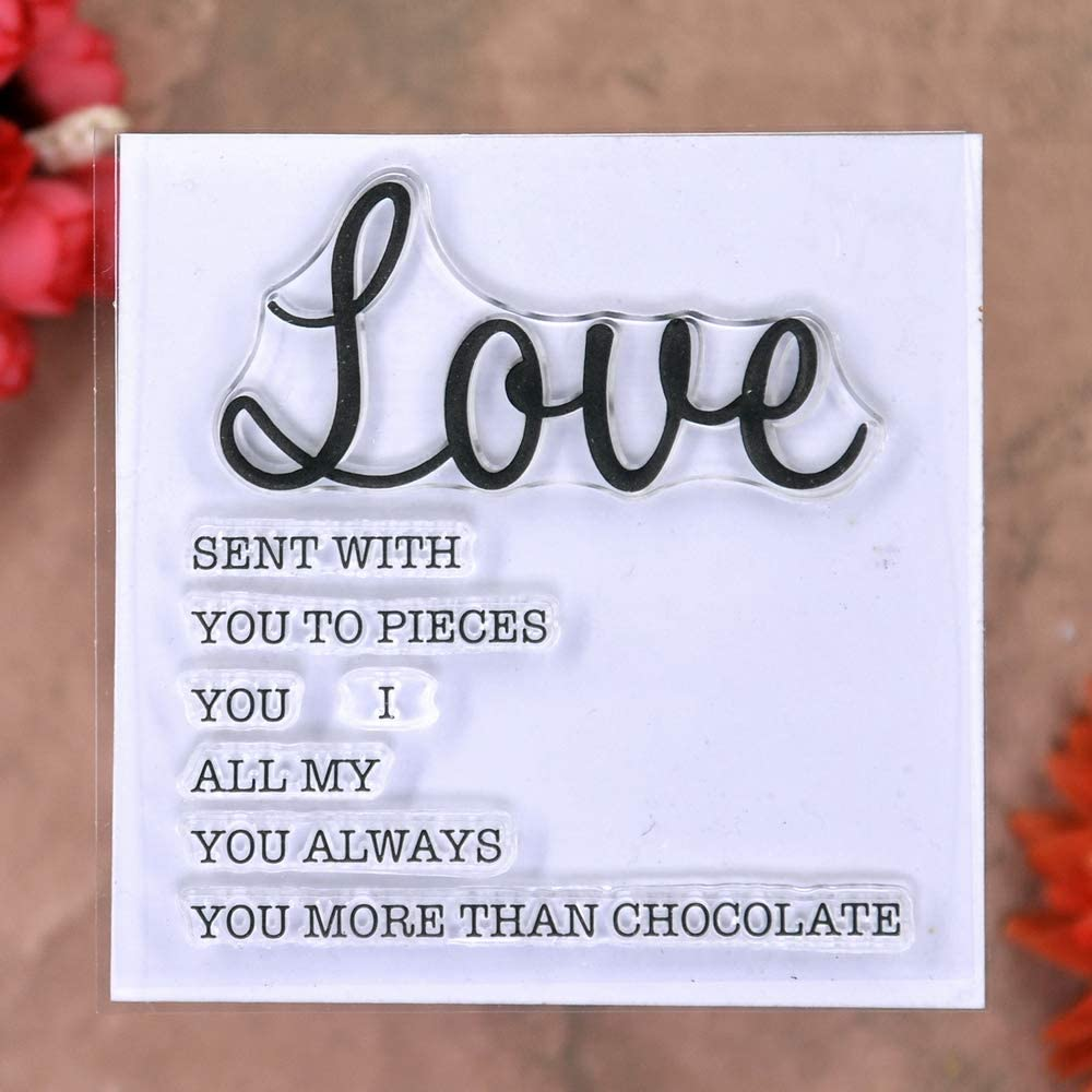 KWELLAM 4pcs//Lot Words Love Hugs Hello Friend Stamp Rubber Clear Stamps for Photo Album Decorative Card Making and DIY Scrapbooking