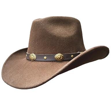 7450f8e4072a0c Hanshow Brown Authentic Wool Felt Soft Cowboy Hat For Men or Women ...