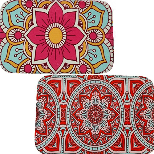 SET OF 2 INDOOR NON-SLIP MATS - Beautiful Floormats for Kitchen or Bathroom Decor, Groovy Edition (Pic Rug)