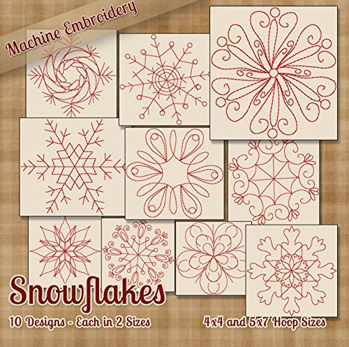 Snowflakes Redwork Embroidery Machine Designs on CD - 10 Stunning Outline Style Patterns - 2 Sizes Each - PES JEF EXP XXX VIP HUS DST