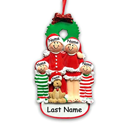 d086456dbeb49 Amazon.com  Personalized Holiday Family 4 Dog Hanging Christmas ...