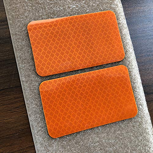 Orange Hook (2 Pack 2x3.5 inch Extra Reflective Morale Fastener Patch Hook/Loop Hi Vis Patch for Safety (Orange))