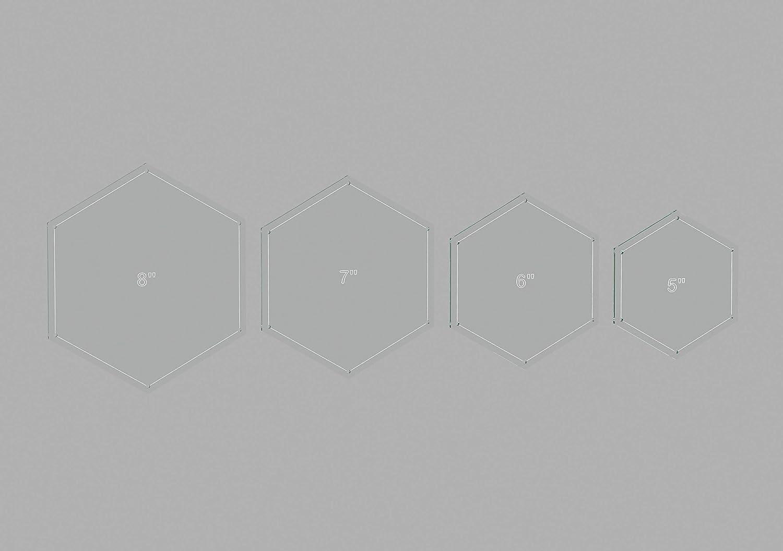 "Hexagon Quilting Template Set, 5"", 6"", 7"", 8"" with 1/4"" Seam Allowance"