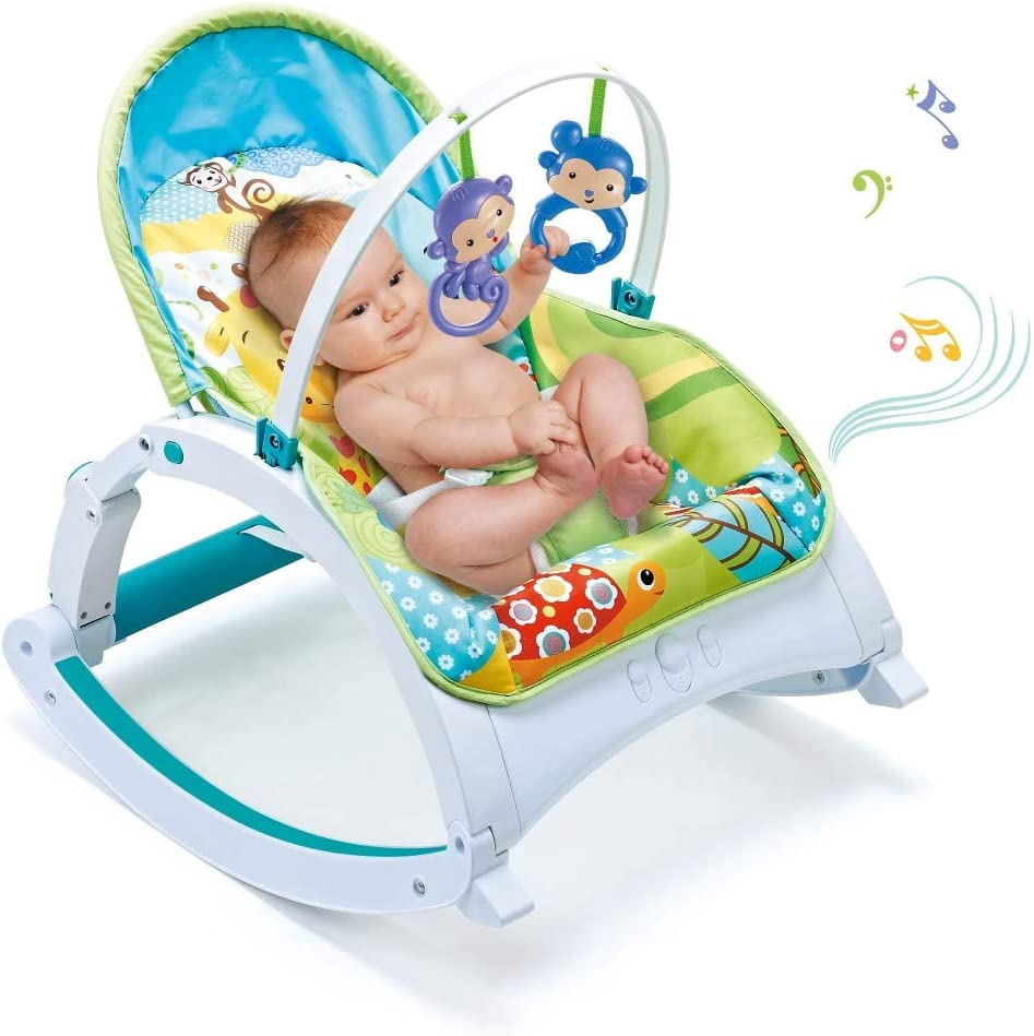 US Fast Shipment, Multicolour Electric Baby Swing Cradle Portable Baby Automatic Swing /& Bouncers,Baby Bouncer Seat Rocking Chair for Sitting up with 8 Soothing Music