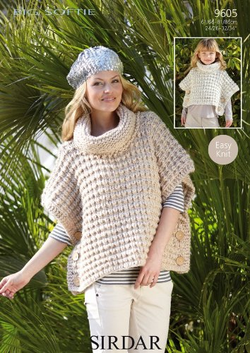 Sirdar Big Softie Super Chunky Girls Womens Poncho Knitting