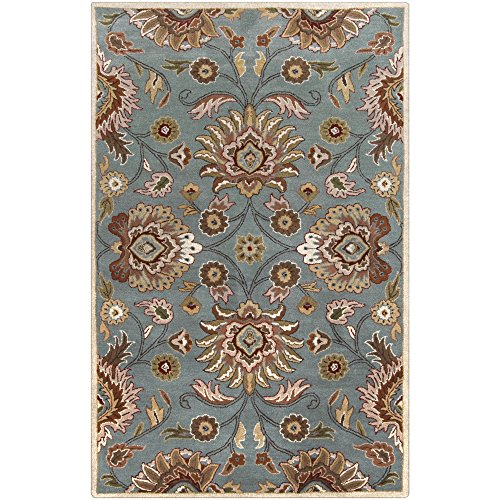 Surya Caesar CAE-1052 Classic Hand Tufted 100% Wool Foggy Blue 5' x 8' Traditional Area (Charcoal Caesar Collection Rug)