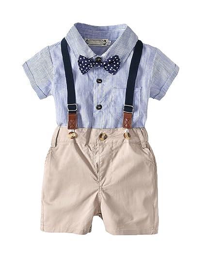 Bebé Niño Camiseta Mangas Cortas Pantalones de Tirantes Corbata de ...