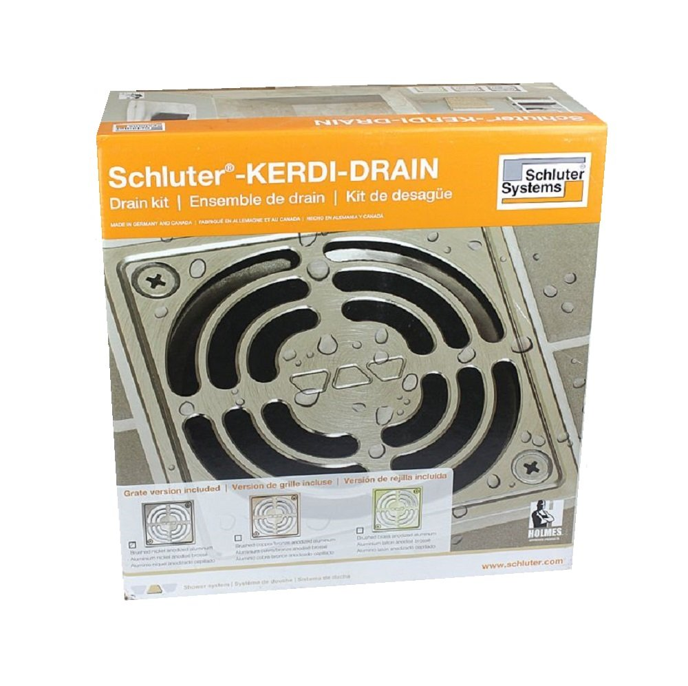 Schluter Systems Kerdi Drain Kit Residential/Commercial All Models Size/Type ABS/PVC, 2'' / 3'' Outlet, 4'' / 6'' Grate KDAR KD2 KDA (KD2/ABS/E Stainless Steel Drain Kit)