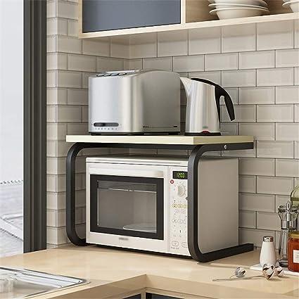 Estante de Microondas Cocina Material Material de las rejillas del piso del horno microondas de almacenamiento en rack doble metal libre del sacador 60x38x39cm rack para la Organización de la Cocina: Amazon.es: