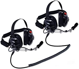 Rugged Radios H80-DOUBLE-TALK-X2 Linkable Intercom Headset Kit for 2 People - Great for NASCAR Races and In-Car Communications - Features 3.5mm Input Jack for Scanners/Music Players