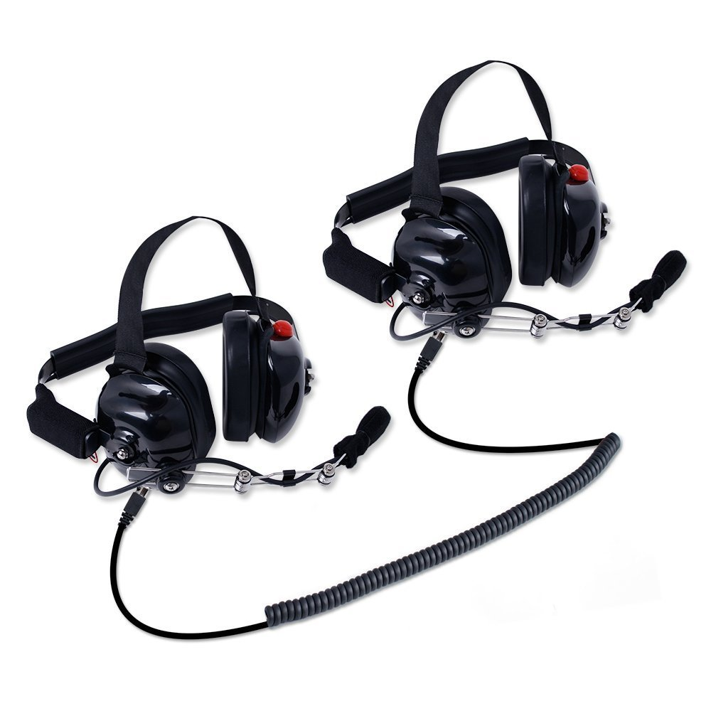 Rugged Radios H80-DOUBLE-TALK-X2 Linkable Intercom Headset Kit for 2 People - Great for NASCAR Races and in-Car Communications - Features 3.5mm Input Jack for Scanners/Music Players by Rugged Radios