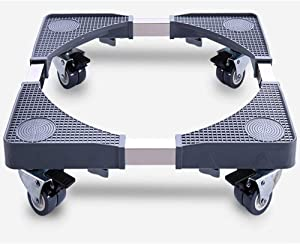 Adjustable Roller Washing Machine Base Portable Washer Dryer Stand Roller Refrigerator Dolly Pedestal Stand Cabinet with 8 Locking Rubber Swivel Casters