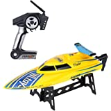 TOYEN GordVE RC Boat High Speed RC Boat RTF Charging Remote Control Boat -Yellow
