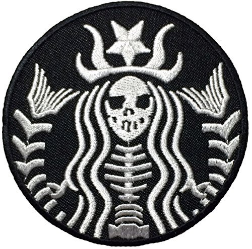 Dead Mermaid Zombie Halloween Skull Skeleton Sew Iron on Embroidered Patches - Black (1Pcs.)]()