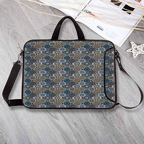 Moroccan Wear-Resisting Neoprene Laptop Bag,Abstract Composition with Ancient Cultural Rich Flora and Arabian Design Elements Decorative Laptop Bag for Laptop Tablet PC,13.8