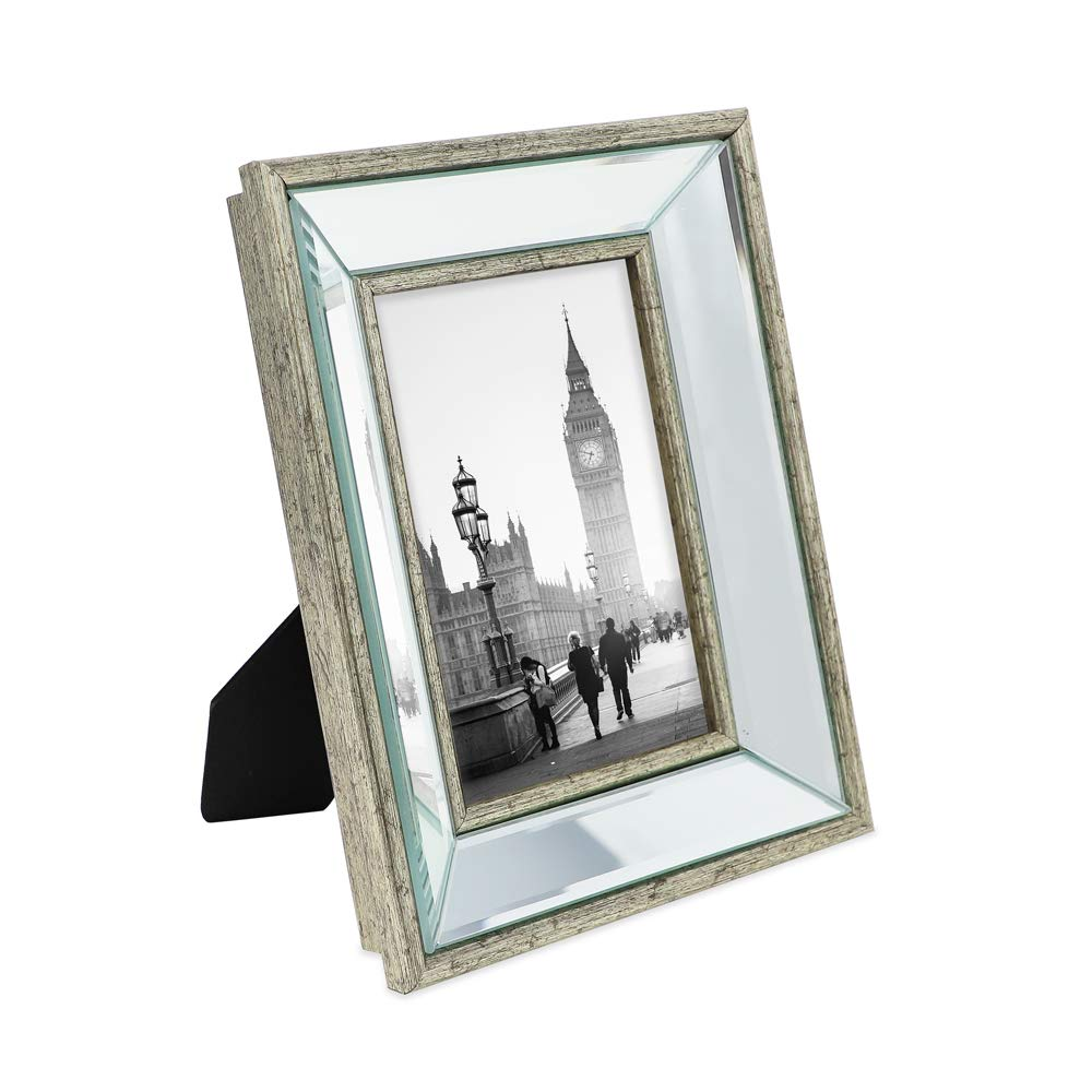 Isaac Jacobs 4x6 Silver Beveled Mirror Picture Frame - Classic Mirrored Frame with Deep Slanted Angle Made for Wall Décor Display, Photo Gallery and Wall Art (4x6, Silver) by Isaac Jacobs International