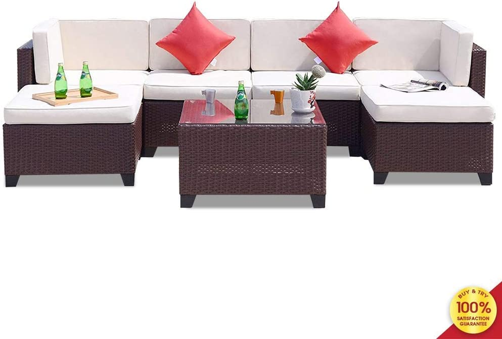 MOOSENG, 7 PCE Rattan Cushioned Sectional Outdoor Garden PE Wicker Conversation Lawn Patio Furniture Sets with Coffee Table, Cool White