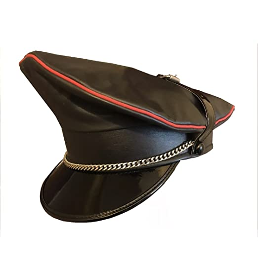 2d6588c9b71874 Real Cowhide Leather Biker,Army,Muir,Police Gay Black Red Trim Chain+Strap  Cap: Amazon.co.uk: Clothing