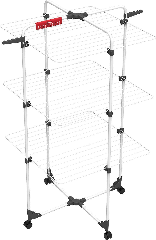 Vileda Mixer 3 - Tendedero vertical de torre de acero, 30 metros de espacio de tendido, 3 rejillas, soporte para ropa pequeña y perchas, color blanco, dimensiones abierto 137 x 71 x 71 cm