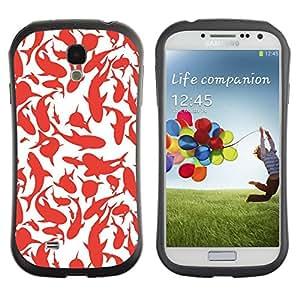 Paccase / Suave TPU GEL Caso Carcasa de Protección Funda para - Whales Sharks Red White Art Painting - Samsung Galaxy S4 I9500