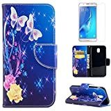 For Samsung Galaxy J7 2017 J730 Leather Wallet Case with Screen Protector ,OYIME [Colorful Painting] Design Flip Holster Kickstand Magnetic Card Holder Full Body Protective Cover -Roses Butterfly