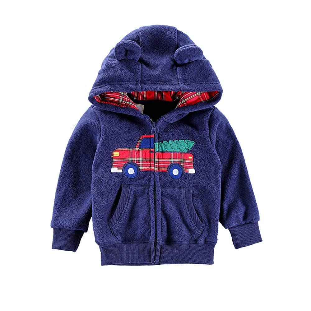 LHWY Kids Infant Baby Boys Girl Cartoon Jumper Shirt Ear Hooded Fleece Jacket Pullover Tops Warm Clothes Coat