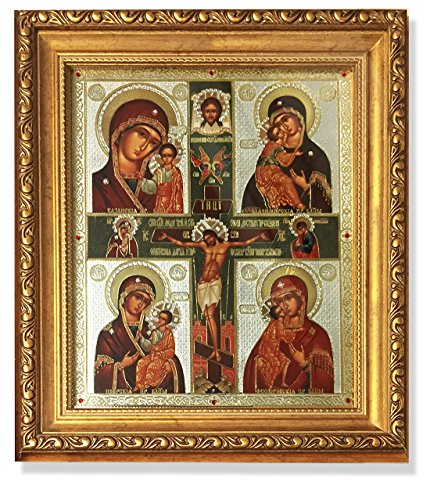 Russian Icon Crucifixion Of Christ and 4 Virgin Mary's Framed With Crystals 10 1/4 Inch