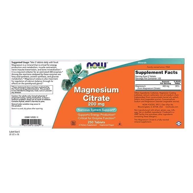 Now Foods | Citrato de magnesio | 200 mg | 250 comprimidos | sin gluten y soja: Amazon.es: Salud y cuidado personal