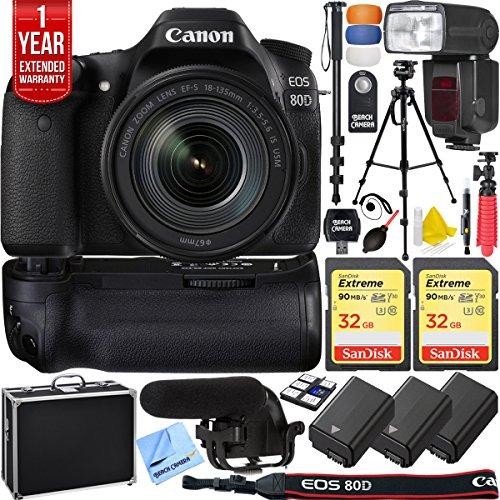 Canon EOS 80D 24.2 MP CMOS Digital SLR Camera w/EF-S 18-135mm f/3.5-5.6 IS USM Lens + 64GB Memory Triple Battery Recording Bundle -  1263C006