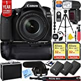 Canon EOS 80D 24.2 MP CMOS Digital SLR Camera w/EF-S 18-135mm f/3.5-5.6 IS USM Lens + 64GB Memory Triple Battery Recording Bundle