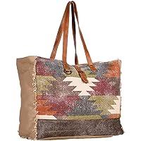Myra Bags Gracious Canvas, Rug, Leather & Hairon Weekender Bag S-1971