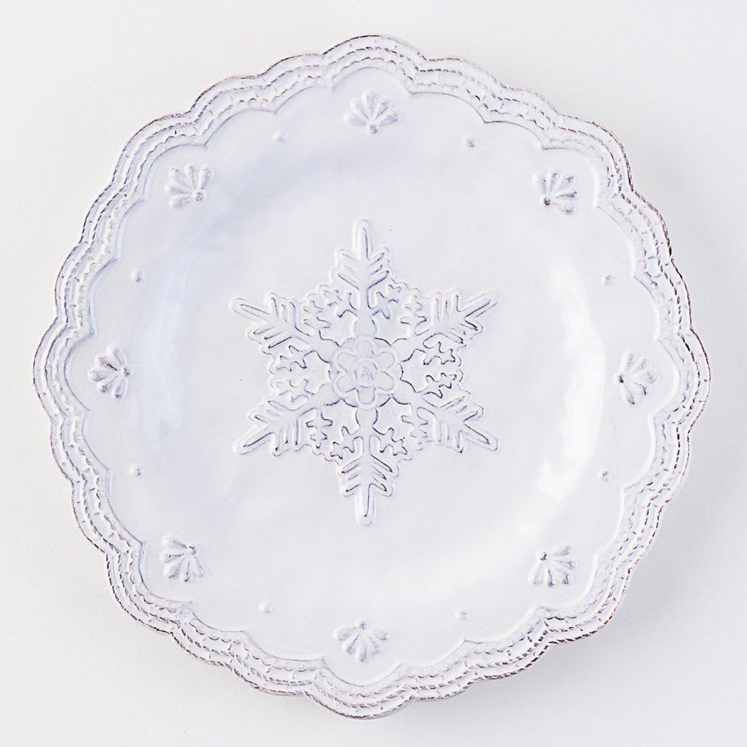 White Ceramic Snowflake Plate - 8
