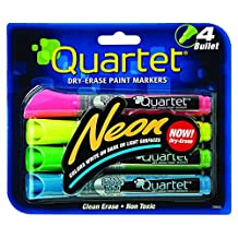 Quartet Neon Dry Erase Paint Markers, 4-Pack, Assorted Colors (6447415553)