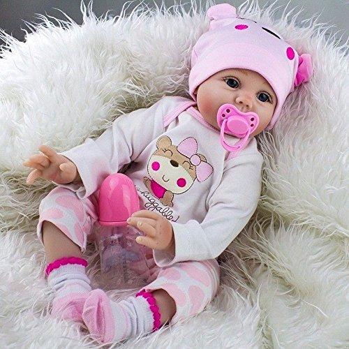Baby Mild Reborn Baby Doll Newborn Girl Soft Silicone Vinyl Lifelike Dolls Handmade 22inch 55cm Cute Lovely Baby Pink cute doll birthday - Singapore Halifax
